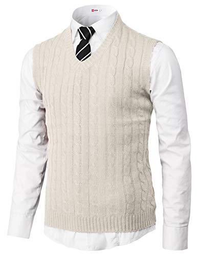 H2H Mens Slim Fit Basic Plain Knitted V-Neck Pullover Sweaters Vest Oatmeal US L/Asia L (KMOV176) -