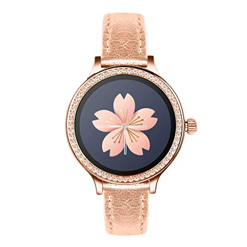 Fullyday Women Luxury Leather Strap M8 Smart Watch Heart Rate Monitor Sports Activity Tracker IP68 Waterproof Bluetooth 4.0 Fitness Tracker Crystal Diamond Lady Wristwatch for Android iOS (C)
