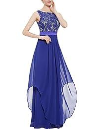 YACUN Women's Lace Elegant Long Bridesmaid Dress Wedding Party Gown