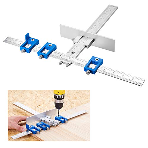 TOURACE Cabinet Hardware Jig for Handles and Knobs,Aluminum Alloy Drill Guide Sleeve,cabinet drilling jig,cabinet handle jig,Drawer Pull Jig,Wood Drilling Dowelling Tools,Jig,cabinet handle template