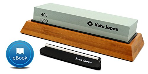 (Kota Japan Combination Dual Sided 400-1000 Grit Diamond Knife Sharpener Whetstone Set for Coarse Sharpening & Fine Polishing. Water Stone Kit | Adjustable Bamboo Holder Base | Precision Blade Guide)