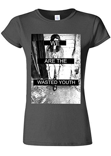時々時々居間賛美歌We Are The Wasted Youth Novelty Charcoal Women T Shirt Top-S