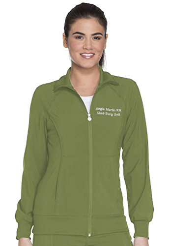 Embroidered Cherokee Women's Infinity Zip Front Warm-up Jacket (Style 2391A, Olive, (Embroidered Olive)
