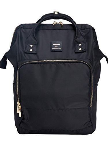Vertical Nylon Backpack - Kah&Kee Nylon Travel Laptop Backpack School Casual Daypack Diaper Bag Women Man (Black)