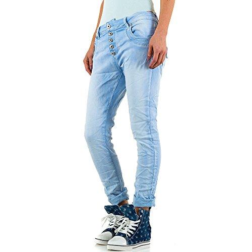 Mozzaar Used Look Boyfriend Jeans Für Damen , Blau In Gr. Xl bei Ital-Design