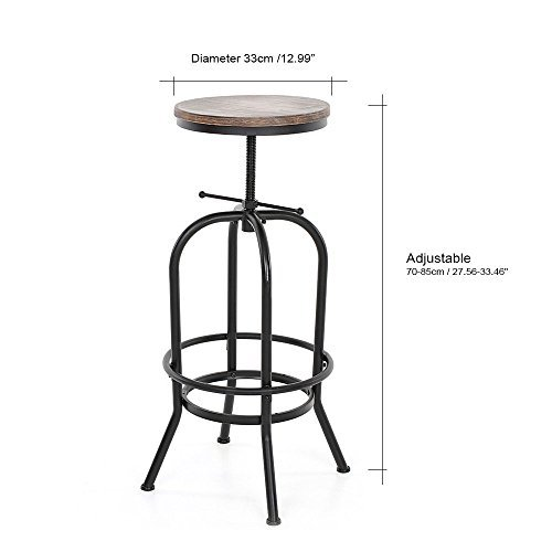 Articial Adjustable Rustic Industrial Bar Stool Swivel Pine Wood Top Metal Frame Bar Chair Footrest Leisure Coffee Chair by Articial (Image #2)