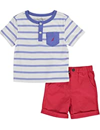 Nautica Boys' Striped Henley Tee and Short Set