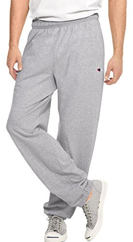 Hanes P7309 Mens Open Bottom Jersey Pants, Oxford Grey - Medium