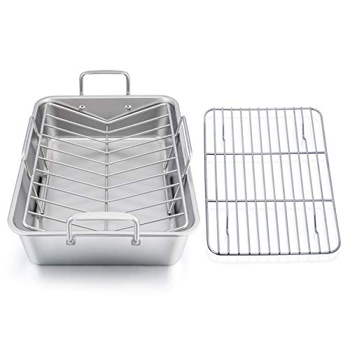 Roasting Pan, E-far 15.2 Inch Stainless steel Turkey Roaster with Rack, Include Deep Lasagna Pan & V-shaped Rack…