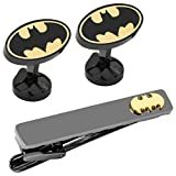 Cufflinks DC Comics Officially Licensed Batman Black and Gold Cufflinks and Tie Clip Gift Set