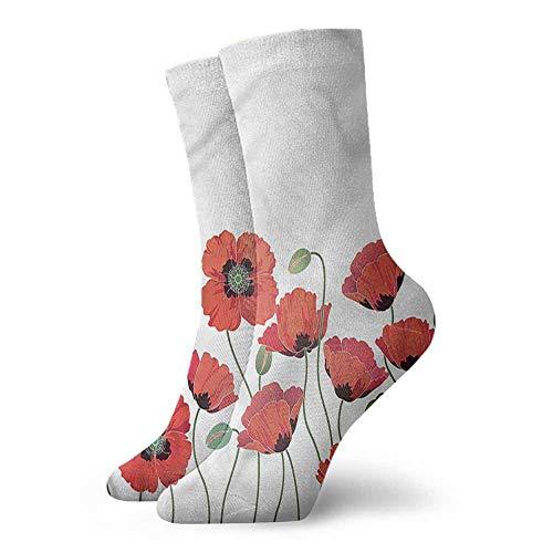 thin Silk socks Floral,Natural Poppy Garden 3.4