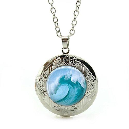 - LEO BON Pendant Necklace Retro Vintage Style Tidal Wave Beach Tsunami Ocean Surfer Nautical ArtLover Pendant Jewelry Silver