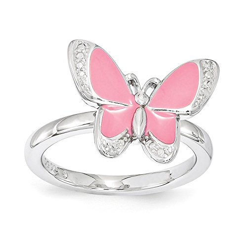 Sterling Silver & Pink Enamel Stackable 12mm Butterfly Ring Size 7
