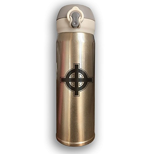 Stainless Water Bottle 500ML Designed Celtic Catholic Christian Cross Of Jesus,Sports Drinking Bottle,Leak-Proof Vaccum Cup,Travel Mug,With Bounce Cover,Yellow by Cuphome