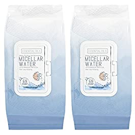 Essential Oils – 2 Pack (60 Count Each) Micellar Water Makeup Remover Facial Wipes