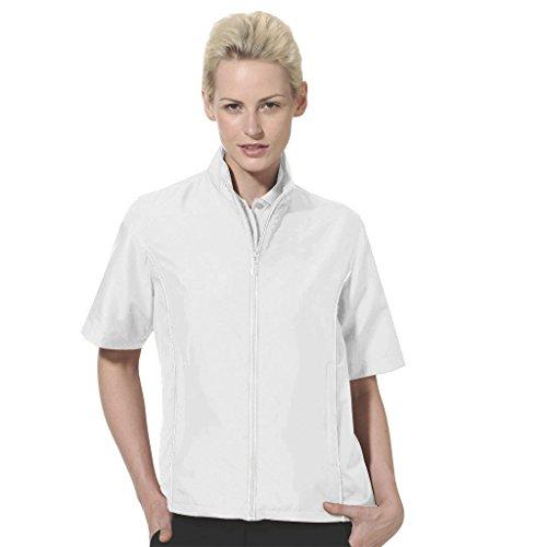 Ladies Windshirt - Monterey Club Ladies Half Sleeve Microfiber Dobby Water Repellent Windshirt #2763 (White, Medium)