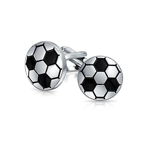 Bling Jewelry Two Toned Black Soccer Ball Mens Sports Cufflinks Rhodium Plated (Soccer Bling)