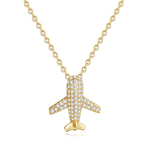 Turandoss Airplane Necklace for Women Gifts - Gold Plated CZ Airplane Pendant Dainty Inspirational Airplane Necklace for Women Girls, Dainty Necklace Inspirational Gifts for ()