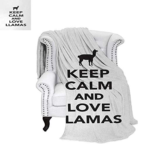 Sunset glow Llama Beach Blanket Monochrome Pop Culture Phrase with Llama Silhouette South American Wildlife Motifs Weighted Blanket 50 x 30 inch Black White -