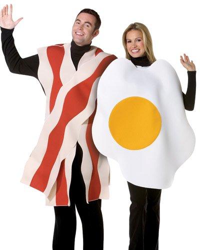 Rasta Imposta Bacon and Eggs Couples Costume, White/Brown, One Size