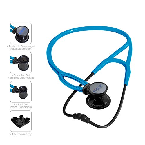 MDF ProCardial ERA Cardiology Lightweight Dual Head Stethoscope with Adult, Pediatric, and Infant-Neonatal convertible chestpiece - Free-Parts-for-Life/Lifetime Warranty - Black Out/S.Swell (MDF797X) ()