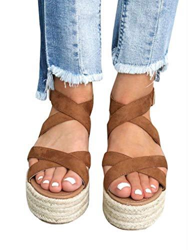 LAICIGO Womens Espadrilles Platform Sandals Ankle Strap Peep Toe Cut Out Dress D'Orsay ()