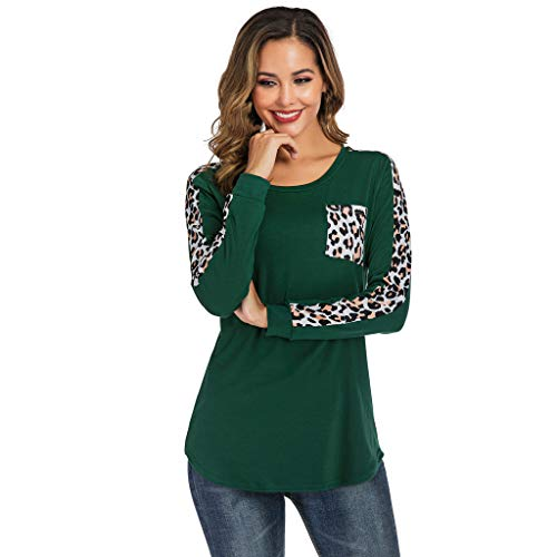 Toimothcn Womens Leopard Pullover Color Block Crewneck Long Sleeve Blouse Sweatshirt Tops(Green,S) (Best Net Shopping Sites)