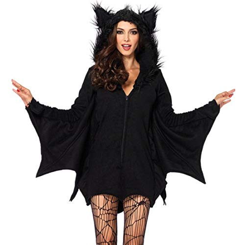 Women Adult Party Fancy Halloween Costume Bat-Wing Long Sleeve Zipper Front Jersey Tunic Hoodie Dress -