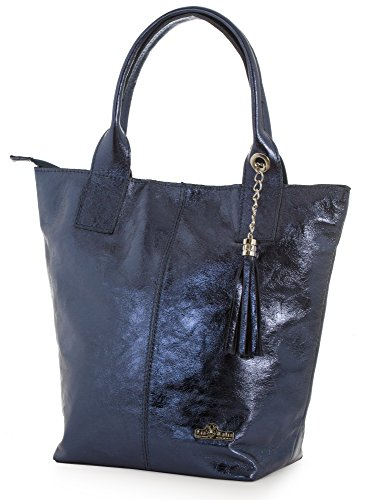Aurora Navy Leather Shoulder Womens Shopper Soft Genuine Pouch Italian And Handbag Liatalia Large Tassel Tote Metallic aFqOfa