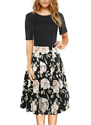 HELYO Floral Autumn Dresses for Women Vintage Half Sleeve O Neck Casual Cocktail Wear Work Dress with Pockets 162 (Black Khaki S)