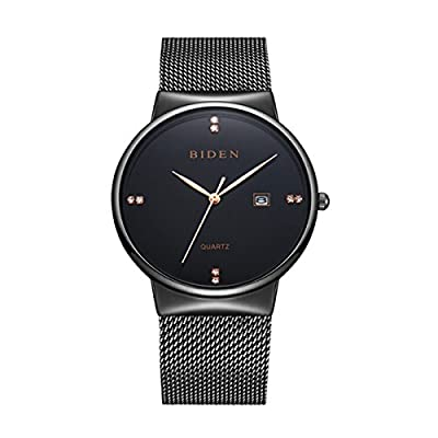 Mens Dress Watches Thin Case Analog Quartz Stainless Steel Waterproof Classic Casual Milanese Mesh Band Wristwatch Slim Dial Luxury Unisex Watch