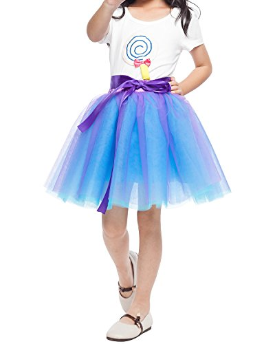 - Little Girl Tutu Skirt A Line 7 Layers Tulle Skirt Party Princess Dance Tutu Dress (3T -10T) (Purple Blue)