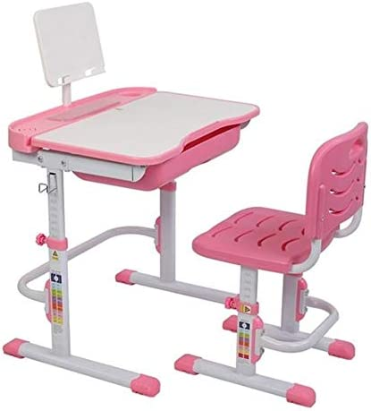 子供用の机と椅子のセット、高さ調節可能な子供用の学習用描画テーブルセット、ホームスクールの反射防止の子供用の学習テーブル、読書用ラック (Color : Pink)