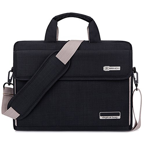 Brinch Unisex Oxford Laptop Sleeve Messenger Shoulder Bag for 15 - 15.6-Inch Laptop / Notebook / MacBook / Ultrabook / Chromebook Computers (Black)