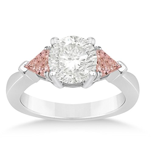 Allurez Morganite Three Stone Trilliant Engagement Ring 14k White Gold (0.70ct)