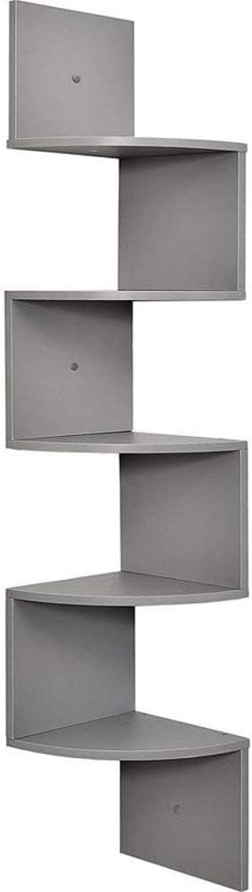 5 Tier Wall Mount Corner Shelves Gray Finish 7.75 x 7.75 x 48.5 inches