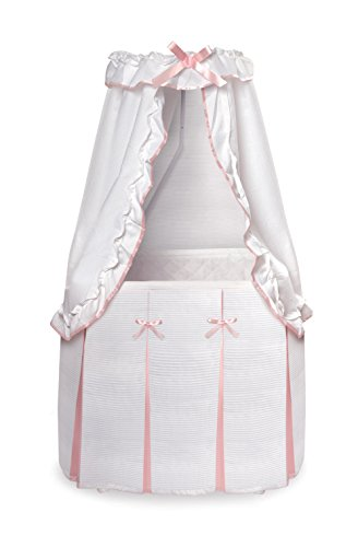 Baby Girl Bassinet (Badger Basket Majesty Baby Bassinet with Canopy, White/Pink)