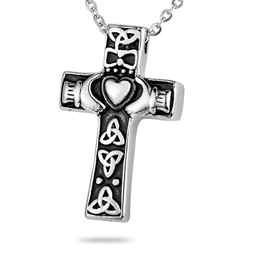 HooAMI Celtic Claddagh Heart Cross Cremation Jewelry Memorial Urn Necklace Ashes Pendant Black Silver