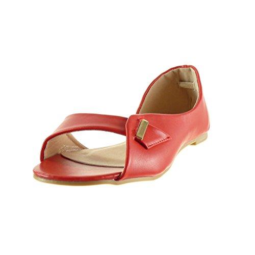 Angkorly - damen Schuhe Sandalen - Offen - Sexy - String Tanga - Schleife - golden Blockabsatz 1 CM - Rot