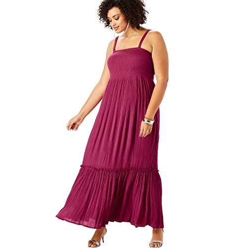 Roamans Women's Plus Size Removable Strap Maxi - Very Berry, 22/24