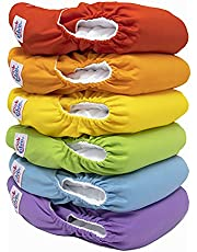 PINK & BLUE - Reusable Cloth Baby Diapers for Boys & Girls - (8-35lbs+) - Double Pockets - 6 Washable Inserts for Leakproof Protection - Environmentally Friendly, Gentle on Baby Skin - A Set of 6 Pcs