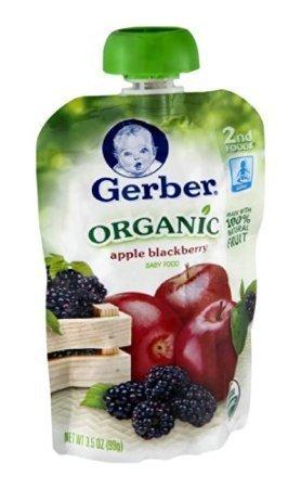 Gerber 2nd Foods Organic Baby Food Apple Blackberry, 3.5 OZ (Pack of 12)