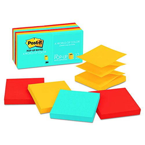 Ultra Color Refill Note (Post-it Pop-up Notes, 3 in x 3 in, Jaipur Collection, 12 Pads/Pack (R330-12AU))