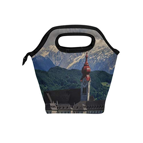 Rh Studio Mountains Monastery Abbey Mountain Landscape Lunch Tote Bag Insulated Cooler Thermal Reusable Bag Lunch Box Portable Handbag ()