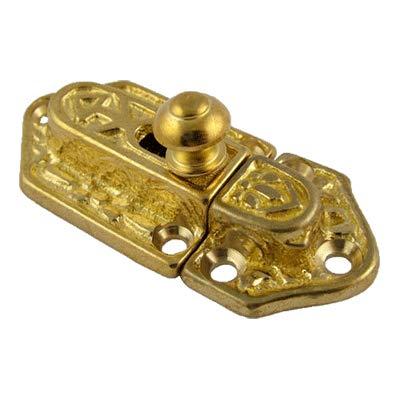 BI-14 Fancy CAST Brass Cabinet OR Cupboard Latch Victorian Antique Reproduction + Free Bonus (Skeleton Key Badge) (6) by UNIQANTIQ HARDWARE SUPPLY (Image #2)