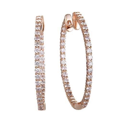 - ~1ct 14K Rose Gold Full Diamond Pave Inside Out Hoop Earrings