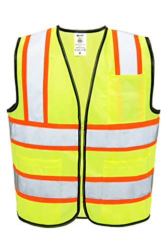 (Neiko 53990A High Visibility Safety Vest with 3 Pockets and Zipper, Neon Yellow | Size L )