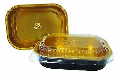 Handi-Foil 1 lb. Oblong Black & Gold Aluminum Pan w/Clear Dome Lid - Heavy Duty (pack of 100)