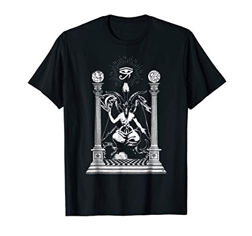 Mens Baphomet Black Magic Satanic Devil T-Shirt Black Temple Medium Black