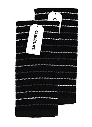 Cuisinart Kitchen, Hand and Dish Towels - Premium 100% Cotton Terry, Black – Soft, Absorbent, Quick Drying and Machine Washable Tea Towels – Dobby Stripe, Set of 2, 16 x 26 Inches